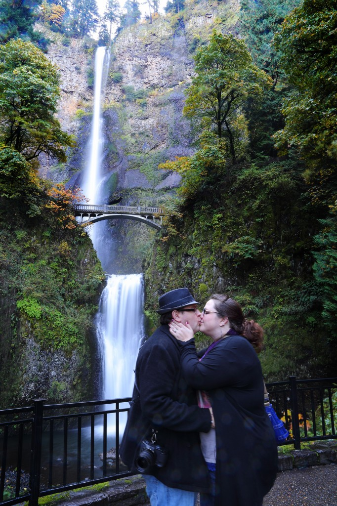 The obligatory kissing shot of us in front of Multnomah Falls.