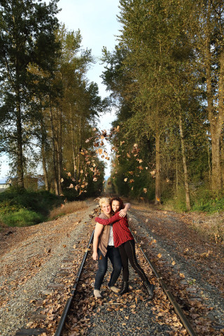 Mom and daughter at railroad tracks in Marysville, WA