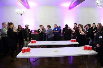 Beer Pong Tournament at The Snohomish Wedding Guild January Meeting at Swans Trail Farms in Snohomish, WA