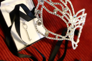 Crystal Mask and Key Necklace Detail