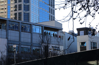 View from the office buildings - Seattle Seahawks Super Bowl Victory Parade in Seattle, WA - February 2014
