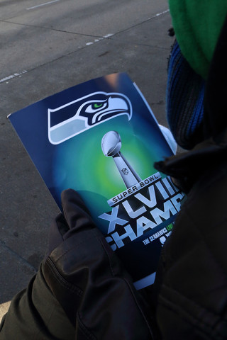 XLVIII Champs sign - Seattle Seahawks Super Bowl Victory Parade in Seattle, WA - February 2014