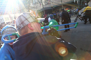 Green and Blue Trombone - Seattle Seahawks Super Bowl Victory Parade in Seattle, WA - February 2014