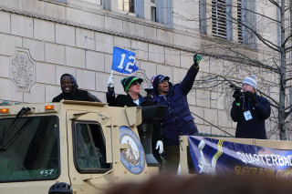Russel Wilson - Seattle Seahawks Super Bowl Victory Parade in Seattle, WA - February 2014