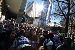 The Crowd - Seattle Seahawks Super Bowl Victory Parade in Seattle, WA - February 2014