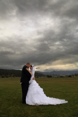 Stormy day wedding portrait