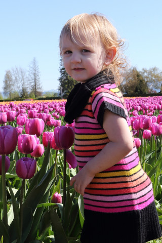 Toddler in the tulips - Roozengaarde