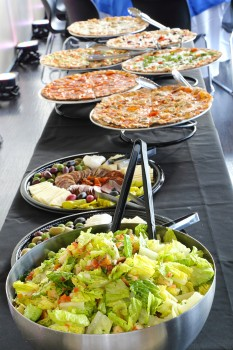 Gourmet pizza instead of traditional catering