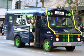 12th Man Old School Bus - Seattle Seahawks Super Bowl Victory Parade in Seattle, WA - February 2014
