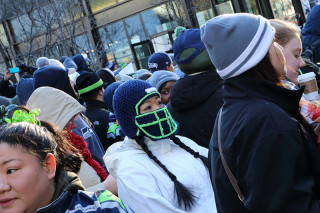 Knitted Helmet - Seattle Seahawks Super Bowl Victory Parade in Seattle, WA - February 2014