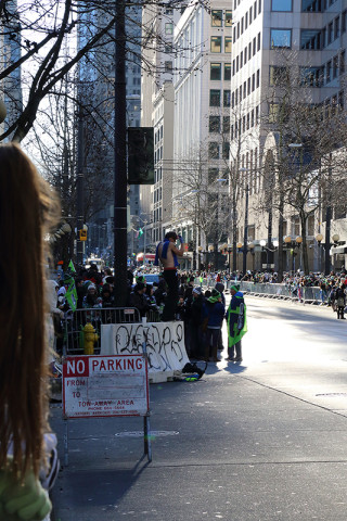 Shirtless Fanatic - Seattle Seahawks Super Bowl Victory Parade in Seattle, WA - February 2014