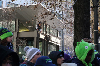 Starbucks Scaler - Seattle Seahawks Super Bowl Victory Parade in Seattle, WA - February 2014