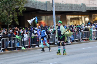 Roller Skating Batman - Seattle Seahawks Super Bowl Victory Parade in Seattle, WA - February 2014