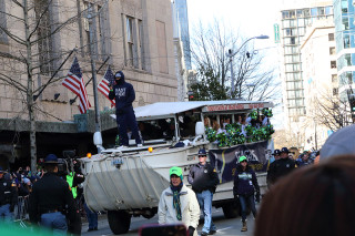 Beast Mode and SeaGals - Seattle Seahawks Super Bowl Victory Parade in Seattle, WA - February 2014