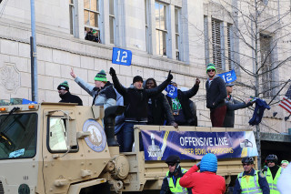 Offensive Line - Seattle Seahawks Super Bowl Victory Parade in Seattle, WA - February 2014