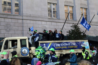 Defensive Line - Seattle Seahawks Super Bowl Victory Parade in Seattle, WA - February 2014