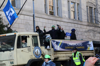 Linebackers - Seattle Seahawks Super Bowl Victory Parade in Seattle, WA - February 2014