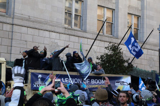 Sherman and the 12s - Seattle Seahawks Super Bowl Victory Parade in Seattle, WA - February 2014