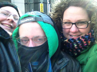 Candy, Jamie & Melissa at the Seattle Seahaws Superbowl Victory Parade in Seattle, WA